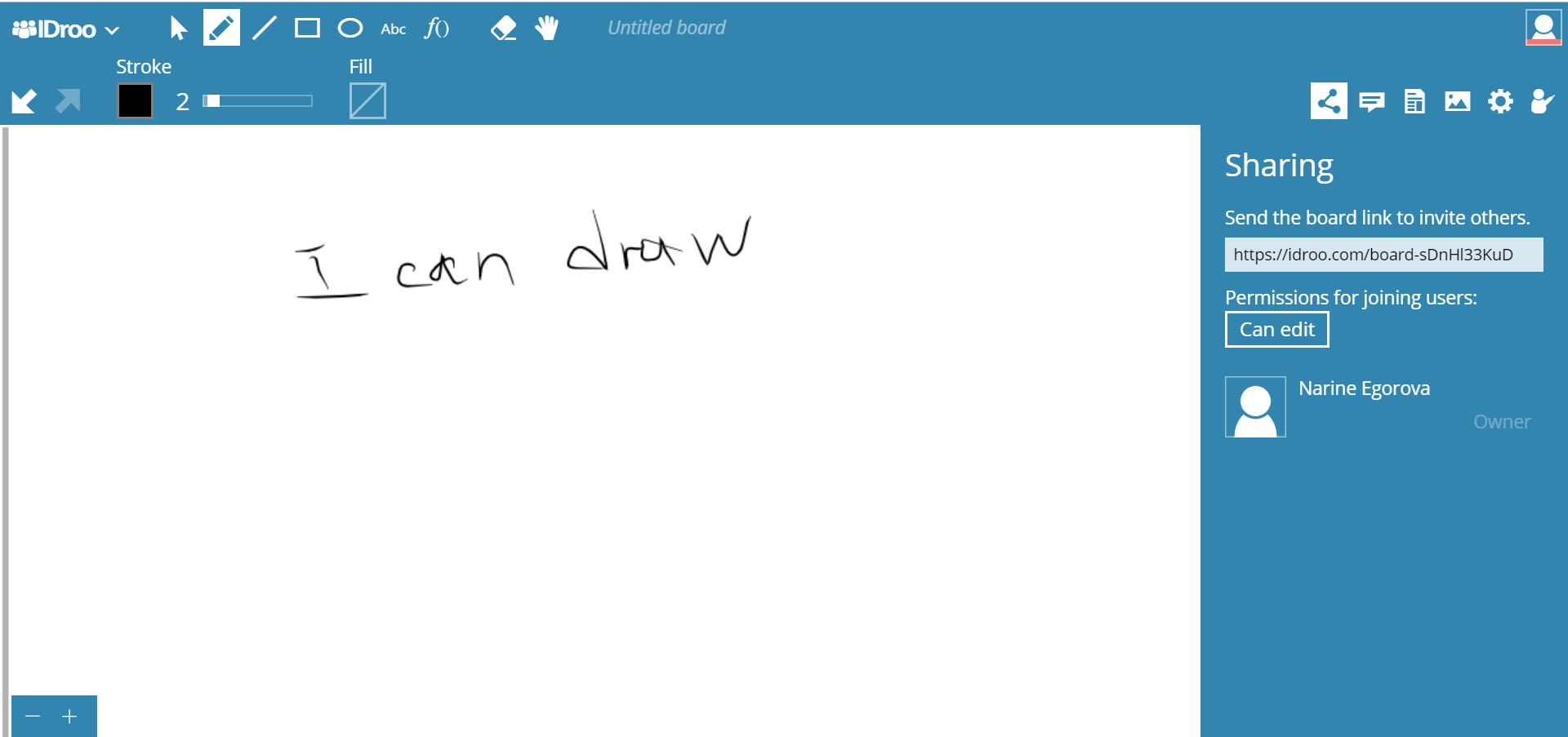 Interactive online whiteboard IDroo