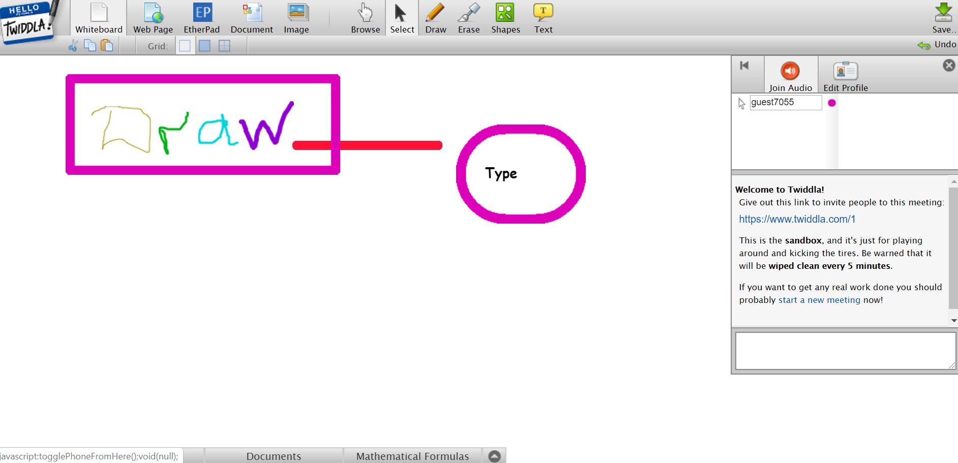Twiddla. Interactive online whiteboard