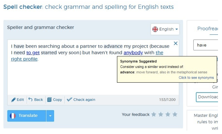 Text checkers