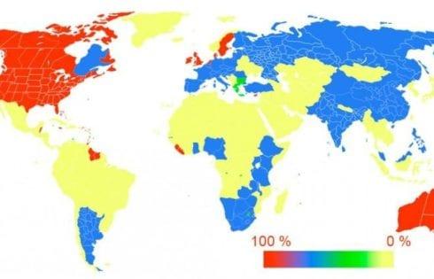 Употребление английского языка на карте мира
