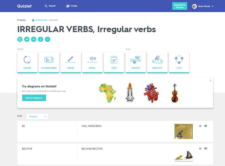 Неправильные глаголы quizlet